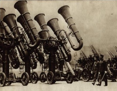 Acoustic Locator Array, New 'War Tubas', Japan, Summer 1930