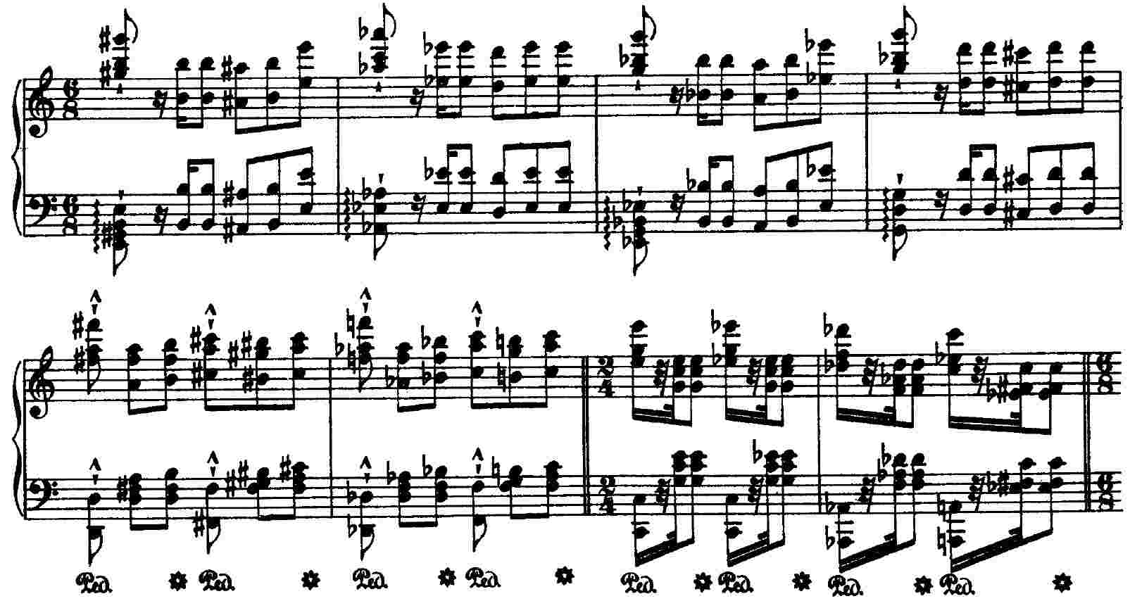 Liszt, Wilde Jagd, mm. 178 - 185
