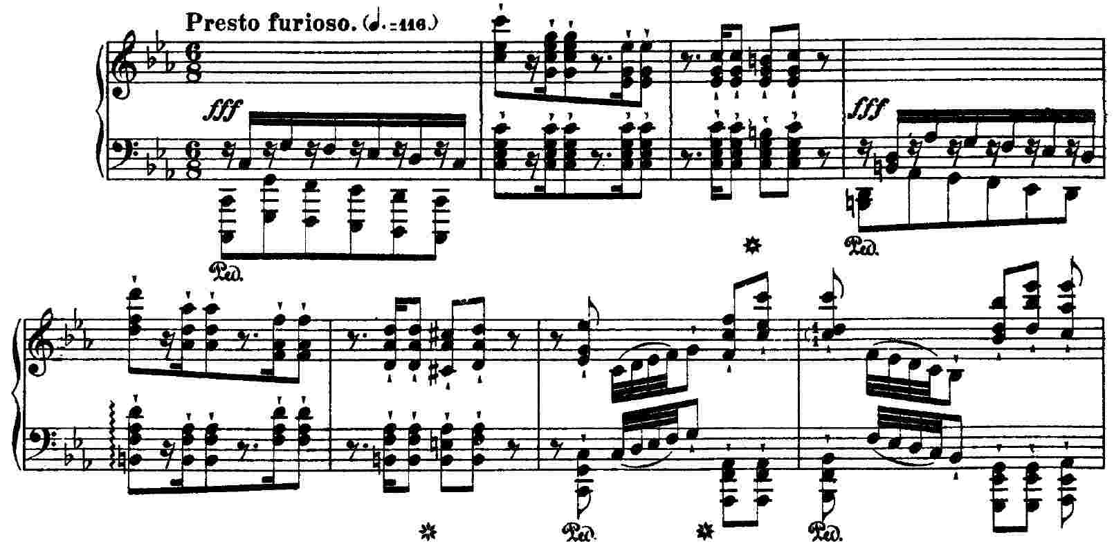 Liszt, Wilde Jagd, mm. 1 - 8