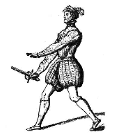Fencing épée 'guard' position, Viggiani