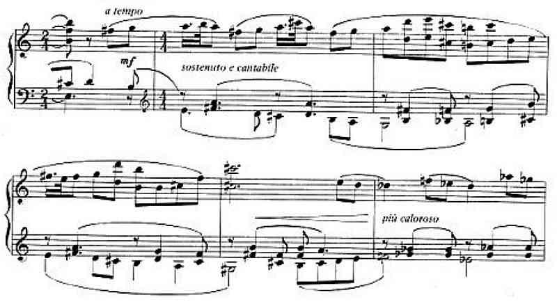 Dello Joio, Concert Variants for Piano, 1983, mm. 6 - 11