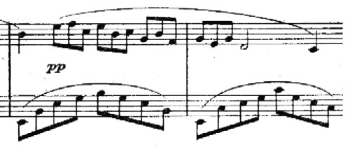 Debussy, Arabesque No. 1 motif, '3-against-2' RH-LH rhythm