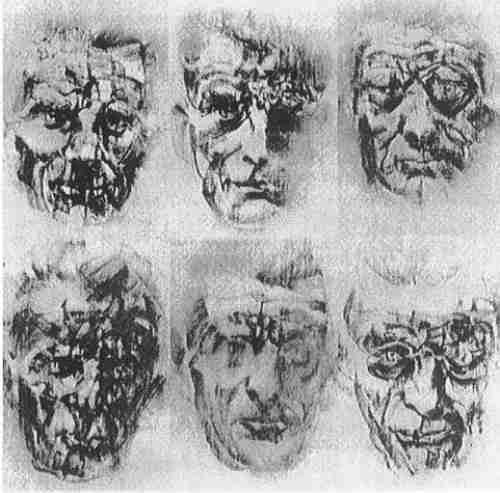 le Brocquy, 6 Samuel Beckett Heads