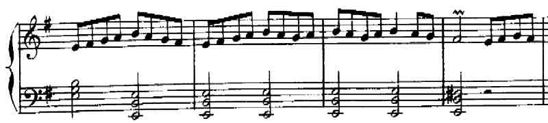  Rameau, Suite No. 2 in E minor, Tambourin, mm. 34-37 