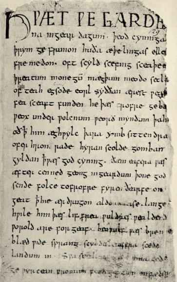 Beowulf manuscript, page 1
