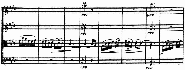 Debussy, Op. 10, III, 'Andantino', mm. 29-36