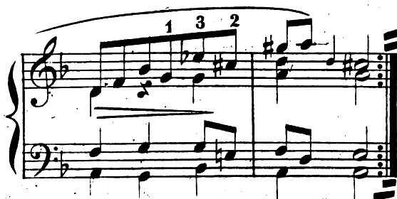  Bach, French Suite, No. 1 in D minor, BWV 812, mm. 7-8