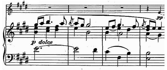 Grieg Op. 13, Mvt. 2, mm. 46-49